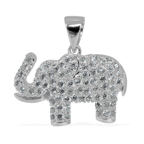 ELANZA AAA Simulated Diamond (Rnd) Elephant Pendant in Rhodium Plated Sterling Silver