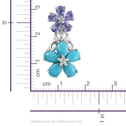 Arizona Sleeping Beauty Turquoise (Pear), Tanzanite and White Topaz Floral Earrings (with Push Back) in Platinum Overlay Sterling Silver 5.370 Ct.