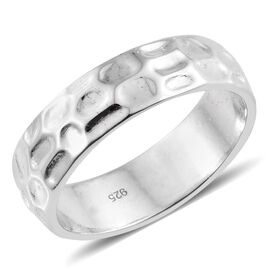 Silver 6mm Texture Band Ring in Platinum Overlay, Silver Wt. 5.68 Gms.