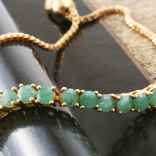 Limited Edition - AAA Brazilian Emerald (Rnd) Adjustable Bracelet (Size 6.5 to 8) in 14K Gold Overlay Sterling Silver 2.500 Ct.