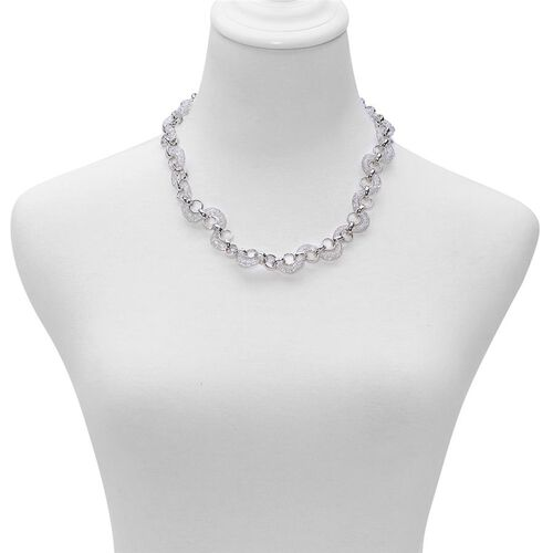 White Austrian Crystal Necklace (Size 20) in Silver Tone