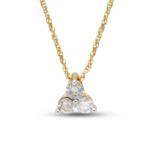9K Yellow Gold SGL Certified Diamond (Rnd) (I3/G-H) Trilogy Pendant with Chain 0.250 Ct.