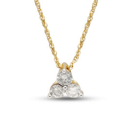 9K Yellow Gold 0.25 Carat AA Diamond Trilogy Pendant with Chain SGL Certified I3 G-H