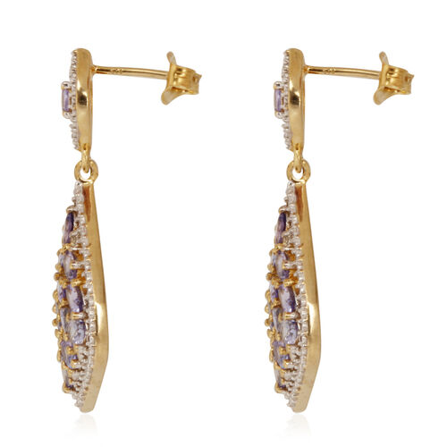 Tanzanite (Ovl), White Topaz Earrings (with Push Back) in 14K Gold Overlay Sterling Silver 5.250 Ct.