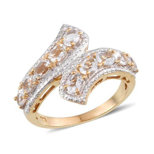 Espirito Santo Aquamarine (Ovl) Crossover Ring in 14K Gold Overlay Sterling Silver 1.500 Ct.