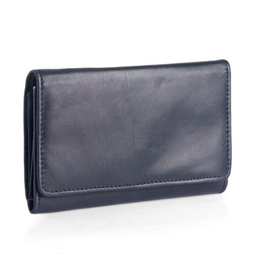 Genuine Leather RFID Blocker Blue Colour Ladies Purse (Size 15.5x8.5 Cm)