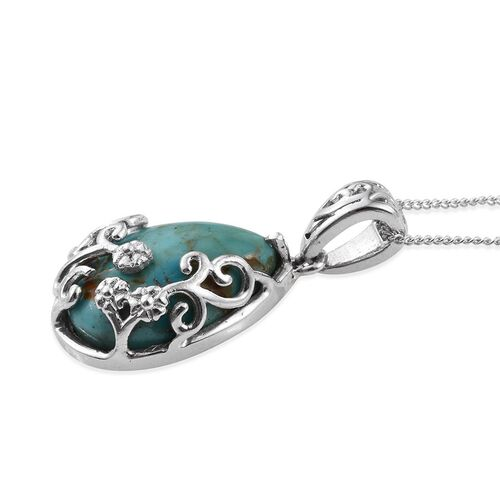 Arizona Matrix Turquoise (Pear) Solitaire Pendant With Chain in Platinum Overlay Sterling Silver 6.000 Ct.