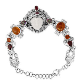 Princess Bali Collection OX Bone Carved Face (Ovl 9.00 Ct), Baltic Amber, Mozambique Garnet and Multi Gem Stones Bracelet in Sterling Silver (Size 7.5 with Extender) 18.180 Ct.