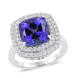 ILIANA 18K White Gold 8.50 Carat AAAA Tanzanite, Diamond (SI/G-H) Ring