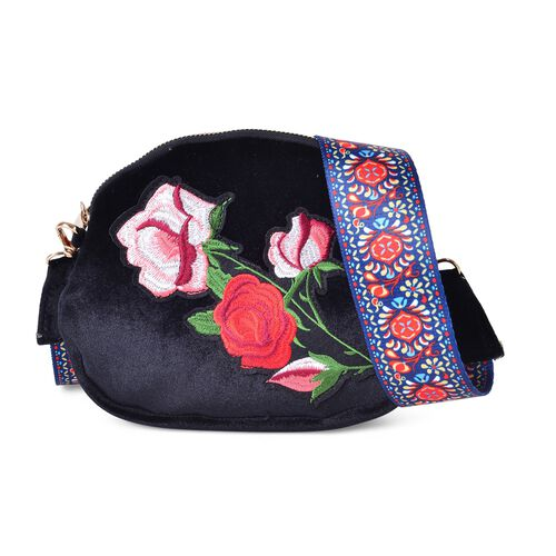 Black, Red and Multi Colour Rose Embroidered Velvet Crossbody Bag with Colourful and Removable Shoulder Strap (Size 20X17X3.5 Cm)