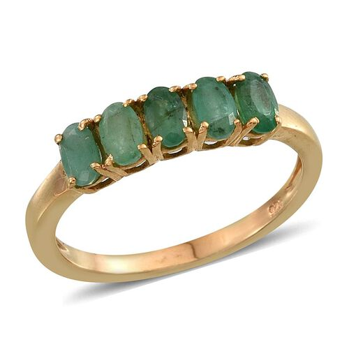 Kagem Zambian Emerald (Ovl) 5 Stone Ring in 14K Gold Overlay Sterling Silver 1.250 Ct.