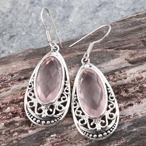 Rose Quartz (Ovl) Hook Earrings in Sterling Silver 15.550 Ct.