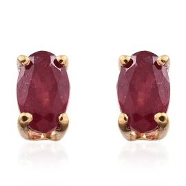 African Ruby (Ovl) Stud Earrings (with Push Back) in 14K Gold Overlay Silver 0.500 Ct.