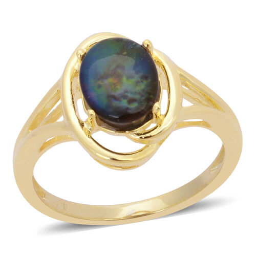 Canadian Ammolite (Ovl) Solitaire Ring in Yellow Gold Overlay Sterling Silver 1.500 Ct.