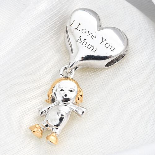Baby Doll Charm in Platinum and Gold Plated Silver