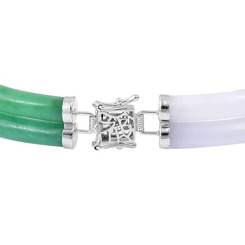 Designer Inspired-Multi Colour Jade Bracelet (Size 8) in Rhodium Plated Sterling Silver 108.500 Ct.