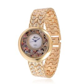 GENOA Japanese Movement MOP Dial Multi Colour Austrian Crystal Water Resistant Watch in Gold Tone with Stainless Steel Back and Chain Strap