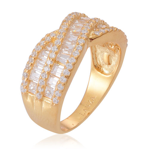 AAA Simulated Diamond (Bgt) Criss Cross Ring in 14K Gold Overlay Sterling Silver