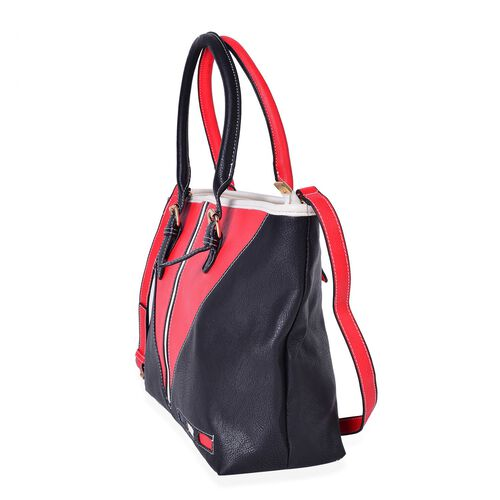 Close Out Deal Designer Inspired Red, Black Colour Tote Bag with Adjustable and Removable Shoulder Strap (Size 41X32.5X27X12 Cm)
