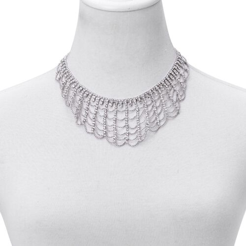 AAA White Austrian Crystal Bib Style Necklace (Size 20 with 2 inch Extender) in Silver Tone