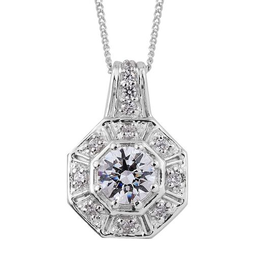 J Francis - Platinum Overlay Sterling Silver (Rnd) Pendant With Chain Made with SWAROVSKI ZIRCONIA