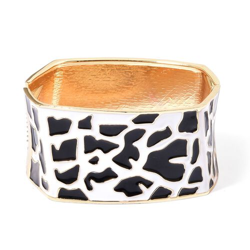 Cheetah Pattern Black and White Colour Enameled Bangle in Yellow Gold Tone (Size 7.5)
