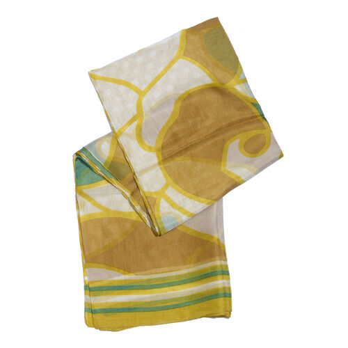 100% Mulberry Silk Mustard, Golden, White and Multi Colour Polka Dots Hand Screen Printed Scarf (Size 180X100 Cm)