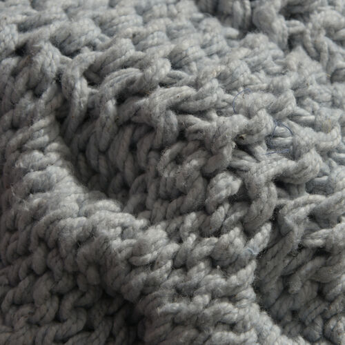 Cable Knit Pattern Steel Grey Colour Plaid