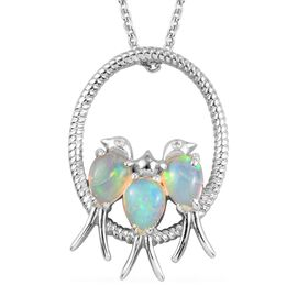 1.50 Carat Ethiopian Welo Opal and Natural Cambodian Zircon Birds and Circle Pendant with Chain (Size 18) in Platinum Plated Silver 6.45 grams