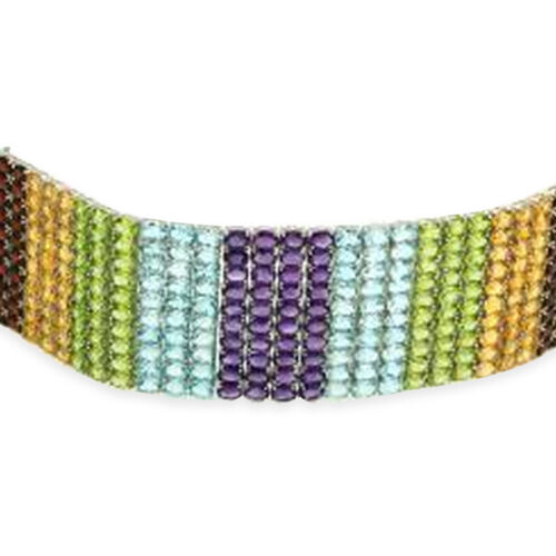 AAA Hebei Peridot (Ovl), Sky Blue Topaz, Citrine, Garnet and Amethyst Rainbow Multi Row Bracelet in Rhodium Plated Sterling Silver (Size 8) 245.000 Ct. Silver wt. 75.00 Gms. Number of Gemstones 280