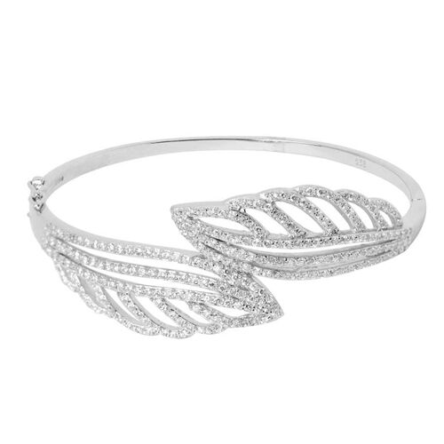 AAA Simulated White Diamond (Rnd) Leaf Bangle in Sterling Silver (Size 60x53mm/Medium)