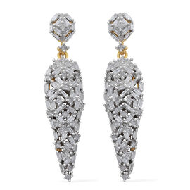 Diamond (Bgt) Earrings (with Push Back) in 14K Gold Overlay Sterling Silver 1.000 Ct.