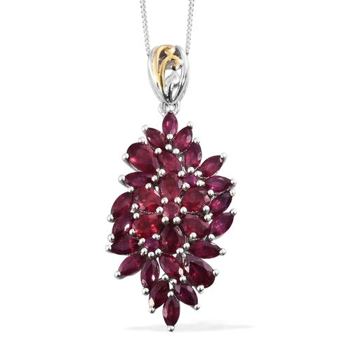 African Ruby (Pear) Pendant with Chain in Platinum and Yellow Gold Overlay Sterling Silver 4.000 Ct.
