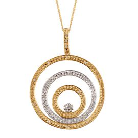 Diamond (Rnd) Circle Pendant With Chain in Yellow Gold Overlay Sterling Silver 0.200 Ct.