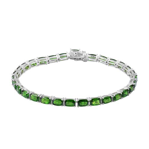 Russian Diopside (Cush) Tennis Bracelet (Size 7.5) in Rhodium Plated Sterling Silver 15.750 Ct.