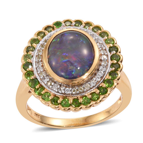 Australian Boulder Opal (Ovl 3.15 Ct), Russian Diopside and Natural Cambodian Zircon Ring in 14K Gold Overlay Sterling Silver 4.750 Ct.