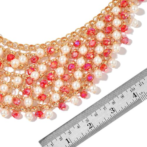 Simulated Ruby and Simulated Pearl Necklace (Size 20 with 2.5 inch Extender) in Yellow Gold Tone