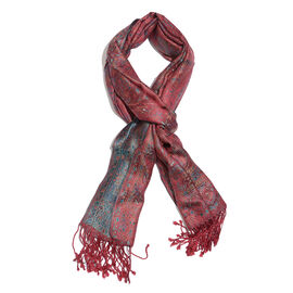 SILK MARK- 100% Superfine Silk Burgundy, Blue and Multi Colour Jacquard Jamawar Scarf with Tassels (Size 180x70 Cm)