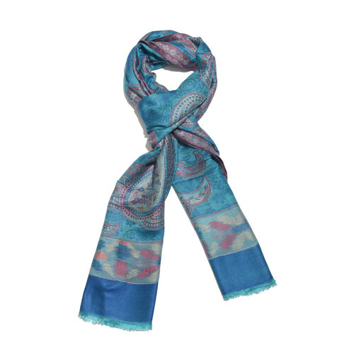 Turquoise, Pink and Multi Colour Paisley Pattern Jacquard Scarf with Fringes (Size 180X70 Cm)