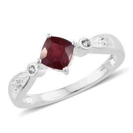 African Ruby (Cush 1.35 Ct), Natural Cambodian Zircon Ring in Sterling Silver 1.500 Ct.