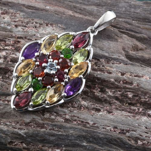 Rhodolite Garnet (Mrq), Hebei Peridot, Amethyst, Citrine, Mozambique Garnet, Sky Blue Topaz and Russian Diopside Pendant in Platinum Overlay Sterling Silver 4.155 Ct.