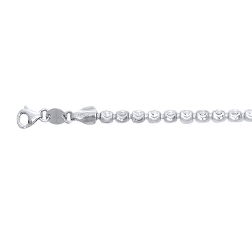 JCK Vegas Collection Rhodium Plated Sterling Silver Barrel Moon Bracelet (Size 7.5), Silver wt 4.93 Gms.