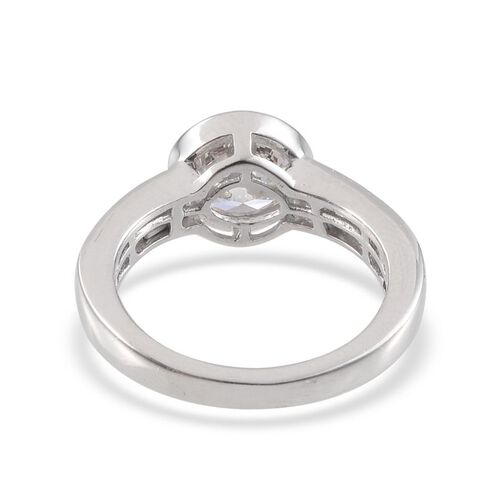 J Francis - Platinum Overlay Sterling Silver (Rnd) 3 Ring Set Made with SWAROVSKI ZIRCONIA 3.720 Ct.