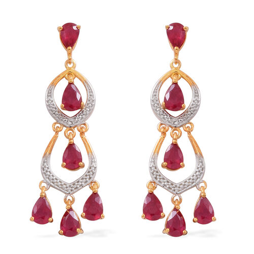 African Ruby (Pear) Chandelier Earrings (with Push Back) in 14K Gold Overlay Sterling Silver 5.500 Ct. Silver wt 5.00 Gms.