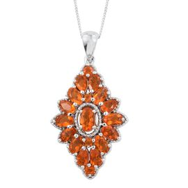 Jalisco Fire Opal (Ovl) Pendant with Chain in Platinum Overlay Sterling Silver 2.410 Ct.