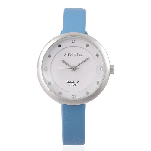 STRADA Japanese Movement White Austrian Crystal Watch with Stainless Steel Back and Blue Colour Strap