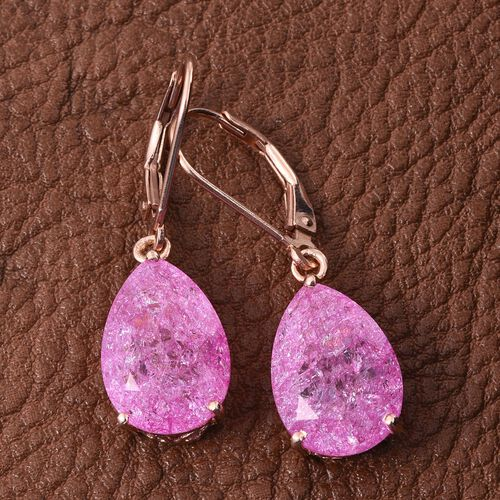 Hot Pink Crackled Quartz (Pear) Lever Back Earrings in Rose Gold Overlay Sterling Silver 9.750 Ct.