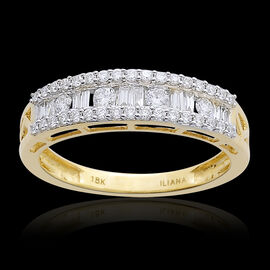 ILIANA 18K Y Gold IGI Certified Diamond (Bgt) (SI/ G-H) Ring 0.500 Ct.