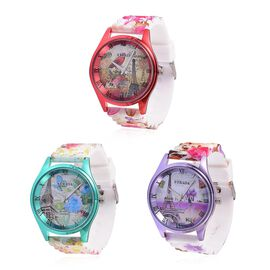 Set of 3 - STRADA Japanese Movement Red, Purple, Green and Multi Colour Eiffel Tower and Floral Pattern Watch in Silver Tone with Stainless Steel Back