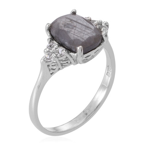 Natural Silver Sapphire (Cush 4.60 Ct), White Topaz Ring in Rhodium Plated Sterling Silver 5.000 Ct.